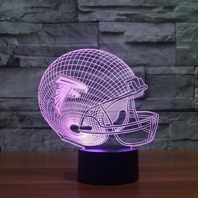 Nave de la gota de la NFL Atlanta Falcons Football Team Logo Colección 3d Casco de Luz 7 Que Cambia de Color Infantil Decoración Para el Hogar Dormitorio Nightlight