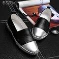 Eofk marca de alta qualidade mulheres sapatos de couro genuíno deslizamento em apartamentos sapatos feitos à mão loafers mocassin sapatos femininos planas slipony
