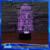 3D Vision Ciervo LED Placa De Acrílico 7 Colores Gradientes de Buque de Guerra de Star Wars Rocket Lámpara de Escritorio Dormitorio Decoración Luz de La Noche