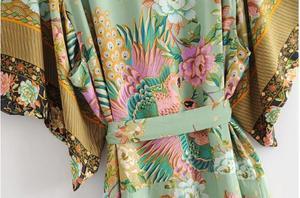 Длинное кимоно с принтом павлина, винтажная блузка с поясом и треугольным вырезом
