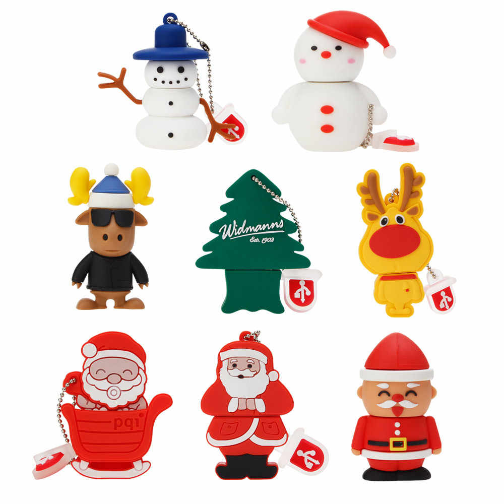 USB Flash Drive 64GB 128GB USB 2.0 Pen Drive 32GB Dos Desenhos Animados Do Boneco de neve Da Árvore de Natal Presentes 4GB 8GB 16GB mini Papai Noel Pendrive