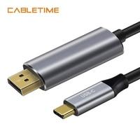 Cabletime USB C naar DisplayPort Adapter Kabel 4 K 60Hz Type C USB 3.1 Thunderbolt 3 naar DP 1.3 UHD Externe Video 1.8 m N101