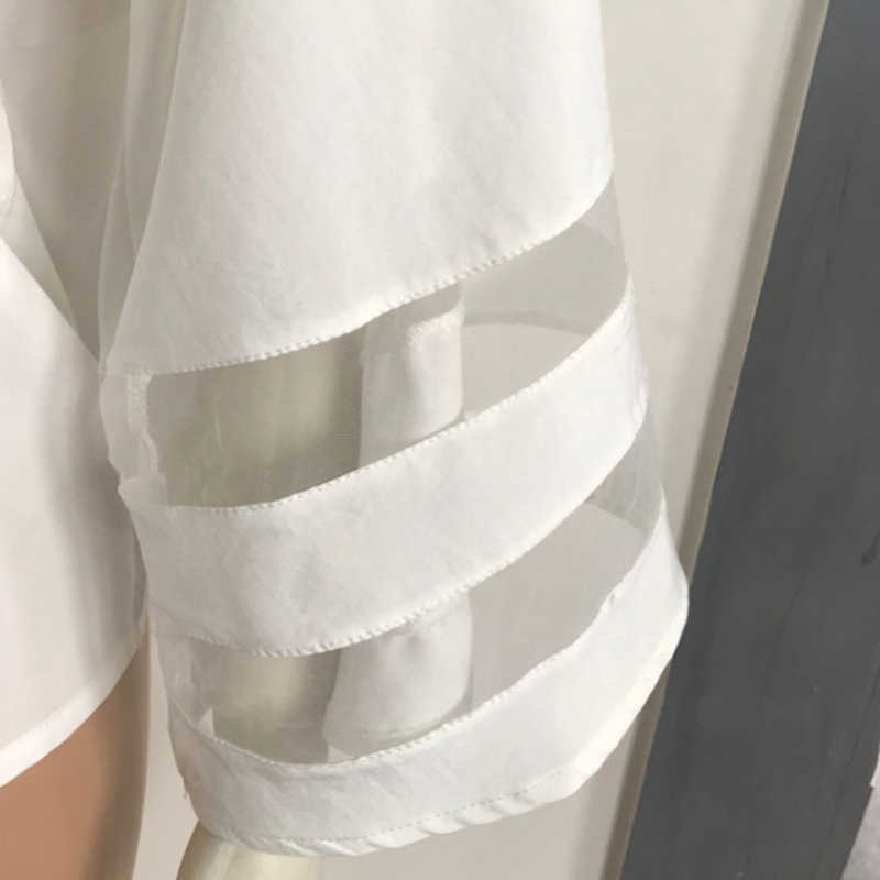 LASPERAL 2018 V-צוואר Loose נקבה חולצות Mesh טלאים tshirt נשים אופנה Streetwear גותי קיץ טי חולצות בגדים