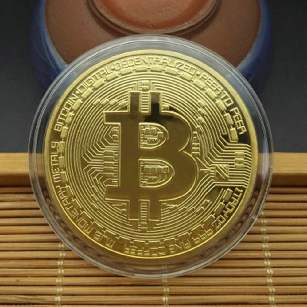 Gift Physical Coin Collection Bitcoin Copper Gold Plated