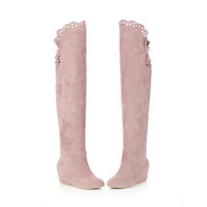 Image 5 - Faux Suede Slim Boots Sexy over the knee high women snow boots girls sweet winter autumn thigh high boots lace flower shoes
