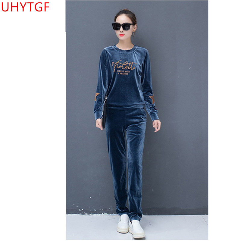ce4d31203c7e Autumn Winter clothing Leisure Gold velvet Sporting suit set Long sleeve  Lady suit printing two piece set top and pants 3XL 841 ~ Free Delivery June  2019
