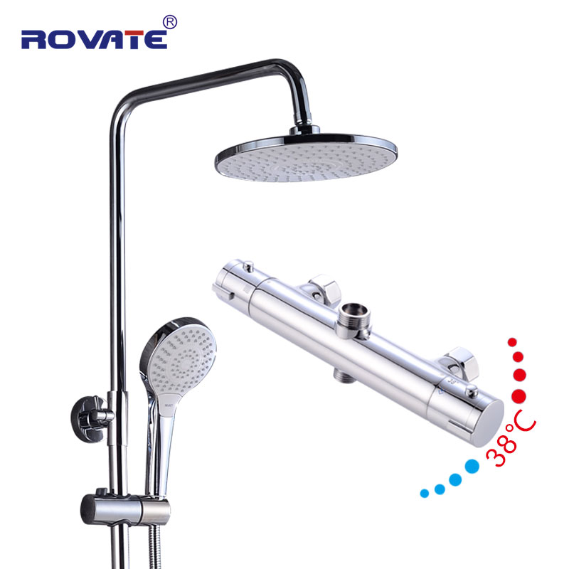 ROVATE Bathroom Shower set thermostatic Bathing suit brass Temperature control shower head Intelligent thermostat faucet ac 250v 20a normal close 60c temperature control switch bimetal thermostat