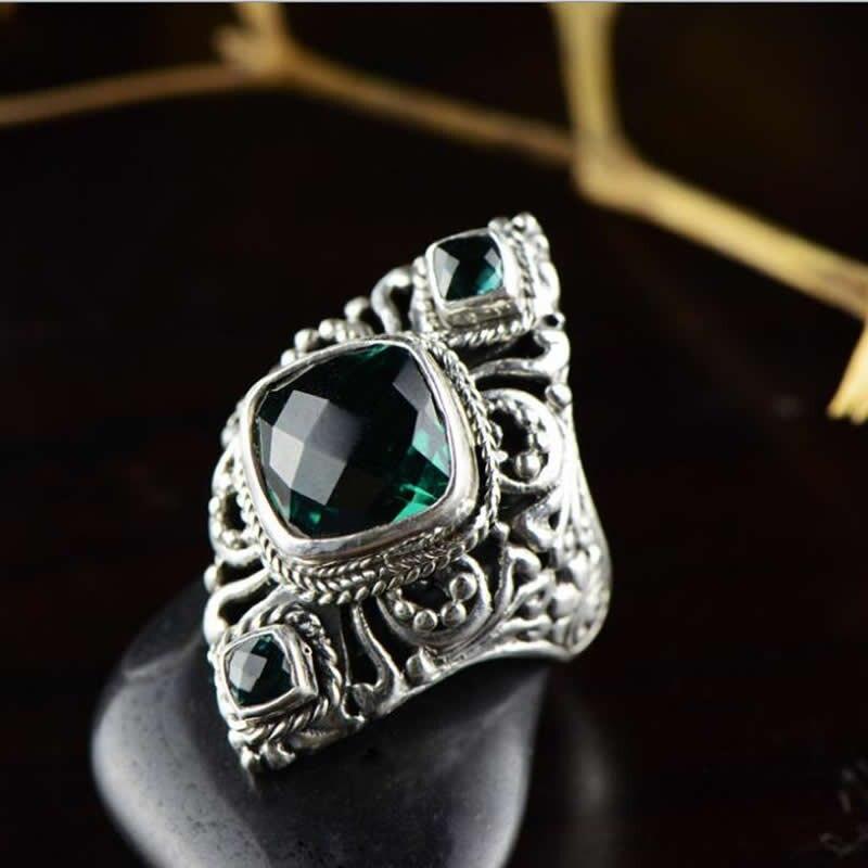 Nouveauté bague en argent Sterling massif femmes bague Vintage en cristal vert