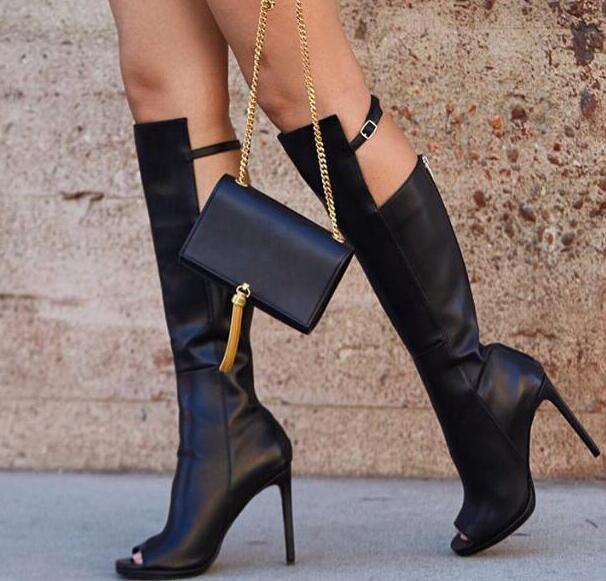 Fashion Black Leather Women Peep Toe Knee High Boots Zipper Back Knee Buckles Ladies High Heel Boots Knight Style Female Boots цена