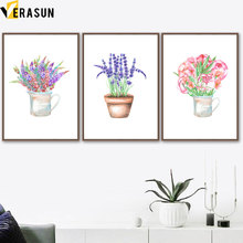 Pink Purple Potted Flower Watercolor Wall Art Canvas Painting Nordic Posters And Prints Pictures For Living Room Home Decor