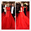 MGC02 Hot Sell New Fashion Allison Williams Red Cap Sleeve Met Gala 2015 Celebrity Dresses elbise Evening Dresses Evening Gowns