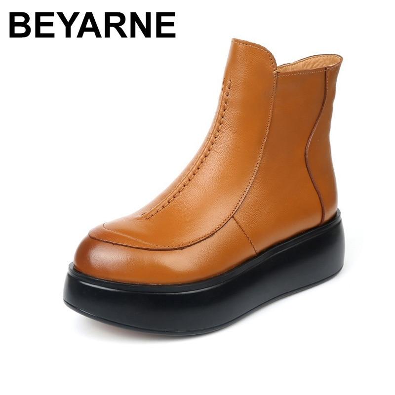 Cheville Bottes Plush Plat Plush Chaussures Black Cuir Lining Short Plush brown Automne Hiver forme Rond black Plate Beyarne brown Bout De Femmes Véritable Thin En Chaud Zip Mode qTYnp7