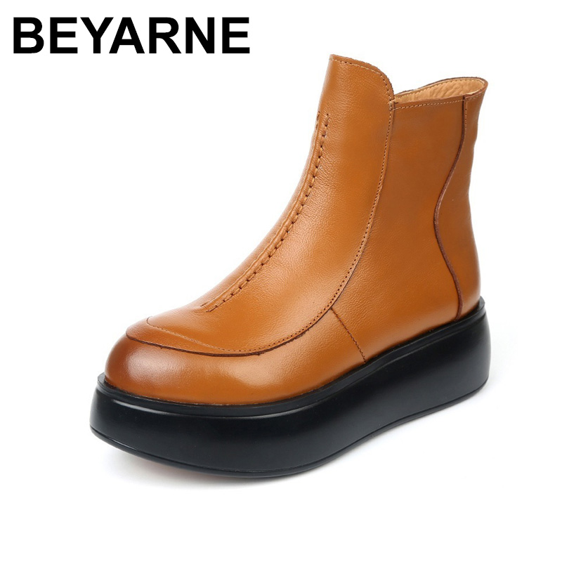 купить BEYARNE Autumn Winter Round Toe Women Genuine Leather Boots Fashion Zip Flat Shoes Women Winter Warm Platform Ankle Boots по цене 2175.24 рублей