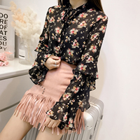 New Small Western Style Shirt Female European Leg Loose Collar Shirt 2018 Knot Spring Coat Chiffon