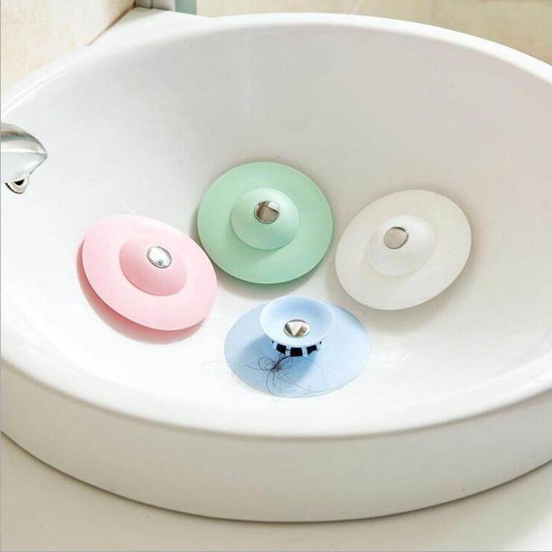 1pc Silicone Filter Basin Sewer Anti-clogging Vegetable Stopper Hair Water Easy Deodorant Bathtub Plug Press Kitchen Bathroom