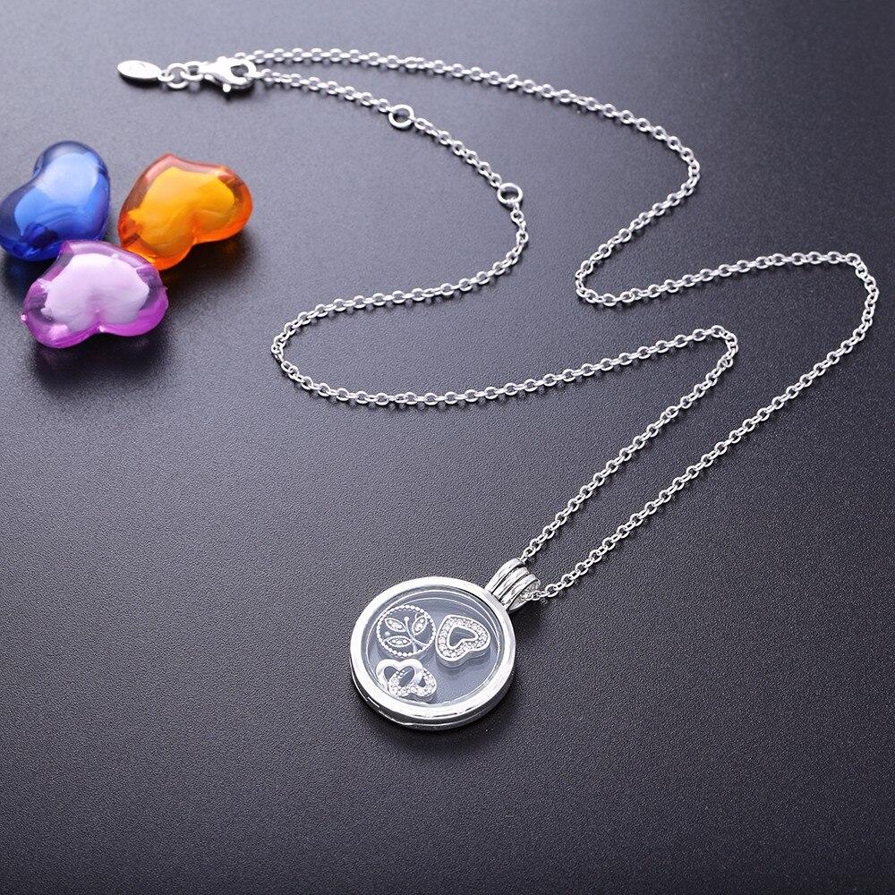 Love & Family Petites colliers de médaillon rond en verre moyen pour femmes mode 925 bijoux en argent Sterling collier de chaîne de déclaration
