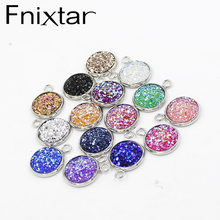 Fnixtar Stainless Steel Glitter Faux Druzy Resin Charm Pendant Colorful Round Charm For Girls DIY Jewelry 12mm 30piece/lot(China)