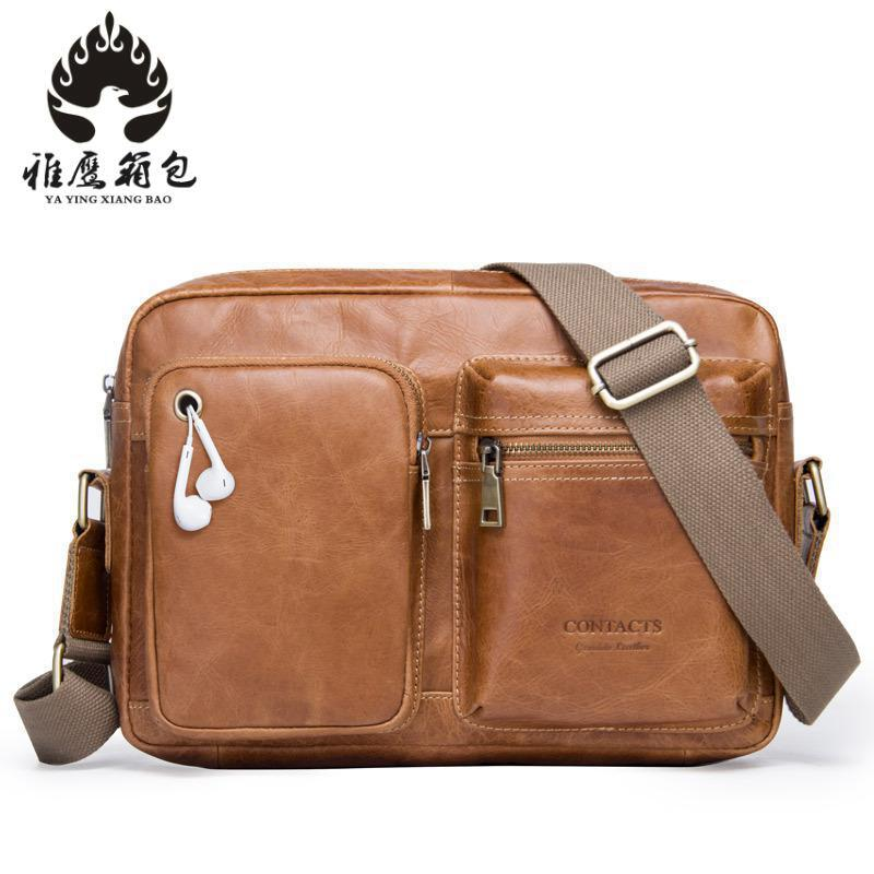 2018 Genuine Leather Shoulder Bags Fashion Men Messenger Bag Small Ipad Male Tote Vintage New Crossbody Bags Men's Handbags zznick genuine leather shoulder bags fashion men messenger bag small ipad male tote vintage new crossbody bags men s handbag