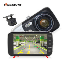 цена на TOPSOURCE 4 IPS Screen Car DVR Novatek 96658+AR 0330 Lens dual Camera T818 Dash Camera FullHD 1080P Video 170 Degree Dash Cam