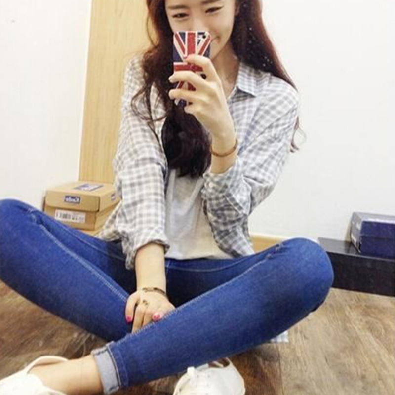 Korean Style Slim Stretch Pencil Jeans Women Blue High Waist Denim Jeans Vintage Spring High Quality Denim Pants For 4 Season