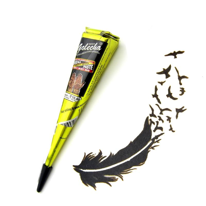 3st Black Brown Rödfärgad Henna Tattoo Pasta Cream Cone, Henna - Tatuering och kroppskonst - Foto 3