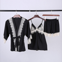 Ladies Sexy Silk Satin Robe Pyjama Set Lace Sleepwear Set Summer Bathrobe Set Bath Robe Set Robe+Top+Pant 3 Pieces For Women