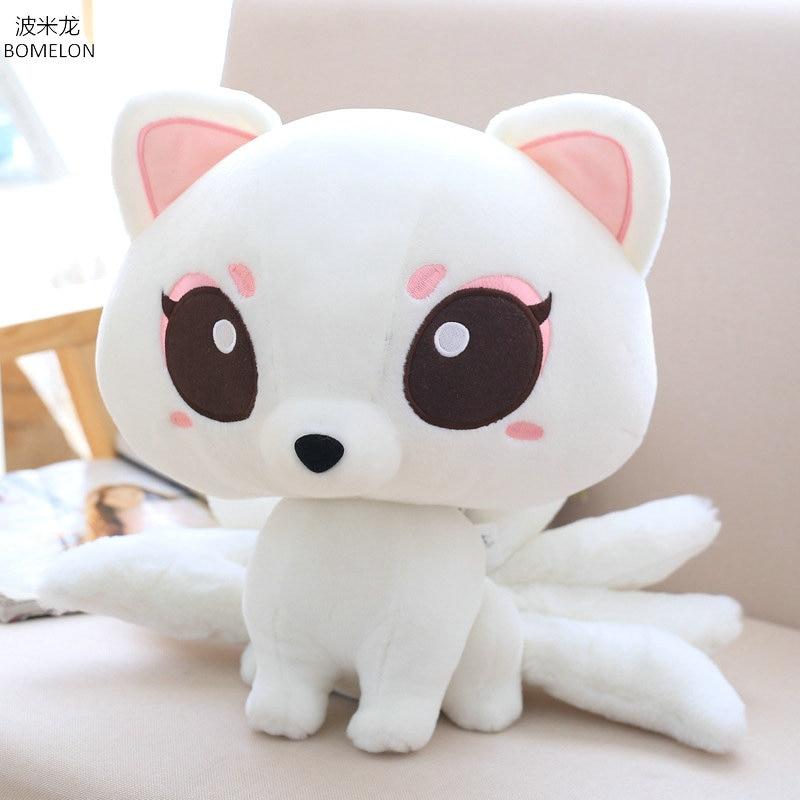 17/23/30cm Kawaii White Nine tailed Fox Plush Doll Stuffed Animals Plush Fox Toys for children Girl Birthday Gift Baby Toys