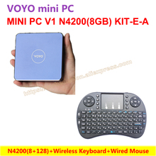 VOYO Mini PC V1 N4200 (8 + 128) Windows 10 карман ПК Intel озеро Аполлон ЦП + беспроводная клавиатура = N4200 (8 + 128) KIT-E-A