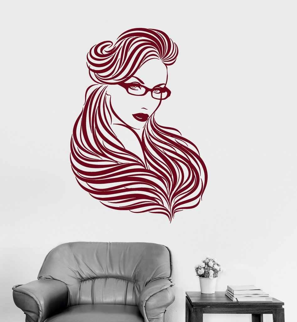 Girl Glasses Long Hair Wall Stickers Nontoxic Pvc Wallpaper Beautiful Woman Beauty Wall Tattoo Hot Selling Diy Mural Sa271 Wall Tattoo Wall Sticker Hair Wall Aliexpress