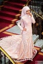 Vestido De Renda High Neck Mermaid Lace Wedding Dresses Pink Muslim Wedding Dress Arabic With Hijab islamic kaftan Bridal Gown