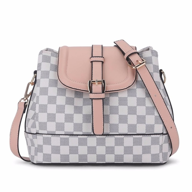 New arrival classical Fashion PU Leather Handbag Casual plaid Pattern Women Shoulder Bags