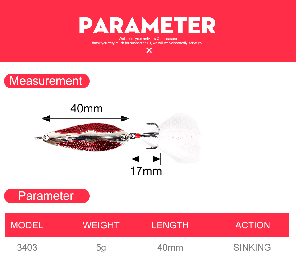 Kingdom Metal Lure Spinner Spoon Fishing Lures Hard Baits 1PC Full Aqueous Layer Metal Material With Feather Hook Fishing Tackle (2)