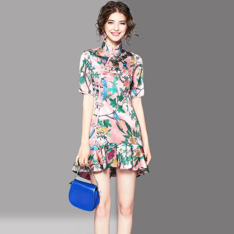 Sirène Fleurs Chinois Femmes Uniquewho 2018 Cheongsam Robes Mini Été Robe Style Oiseaux Imprimé Exquis Dame Mince Printemps EqvCTxqp7w