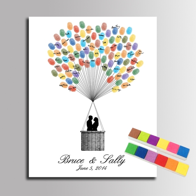 Diy wedding guest book fingerprint signature canvas for Balloon decoration book