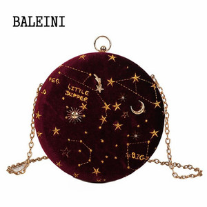 Image 3 - 2020 별이 빛나는 하늘 원형 패션 스웨이드 숄더 백 체인 벨트 여성 크로스 바디 메신저 가방 숙녀 지갑 여성 라운드 핸드백
