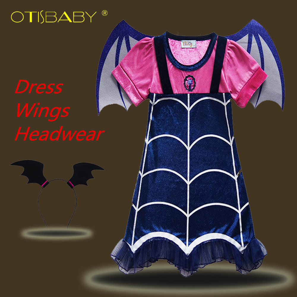 Kids Vampirina Cosplay Costumes Christmas Party Hair Accessories Bat Vampire Wings Girls Casual Clothing Set A-line Dresses