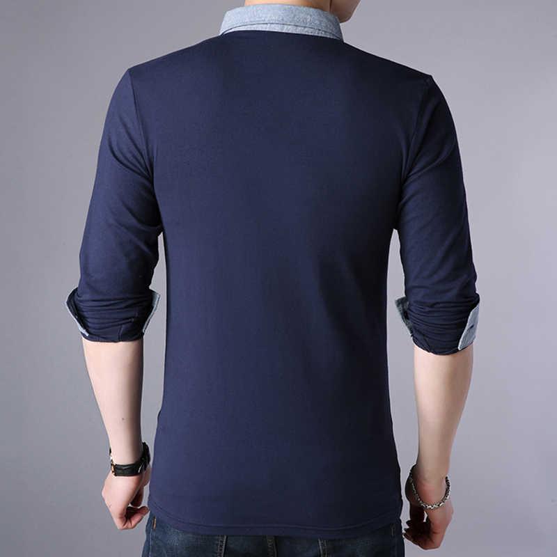 caefb633 ... ARCSINX White Polo Shirt Men Autumn Long Sleeve Mens Polo Shirts Brands  Spring Cotton Plus Size ...