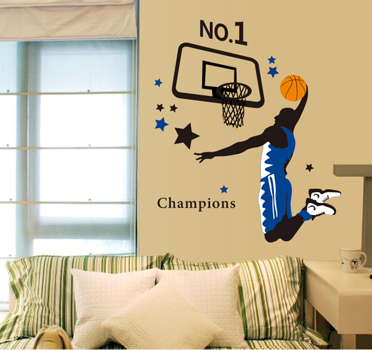 basketball champions dunk master sports wall sticker wall decal home for boy kids room bedroom classroom poster wallpaper ay1940