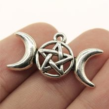 WYSIWYG 8pcs 30x16mm Moon Goddess Star Charm Charms For Jewelry Making Antique Silver Moon Goddess Charms Moon Goddess Star(China)