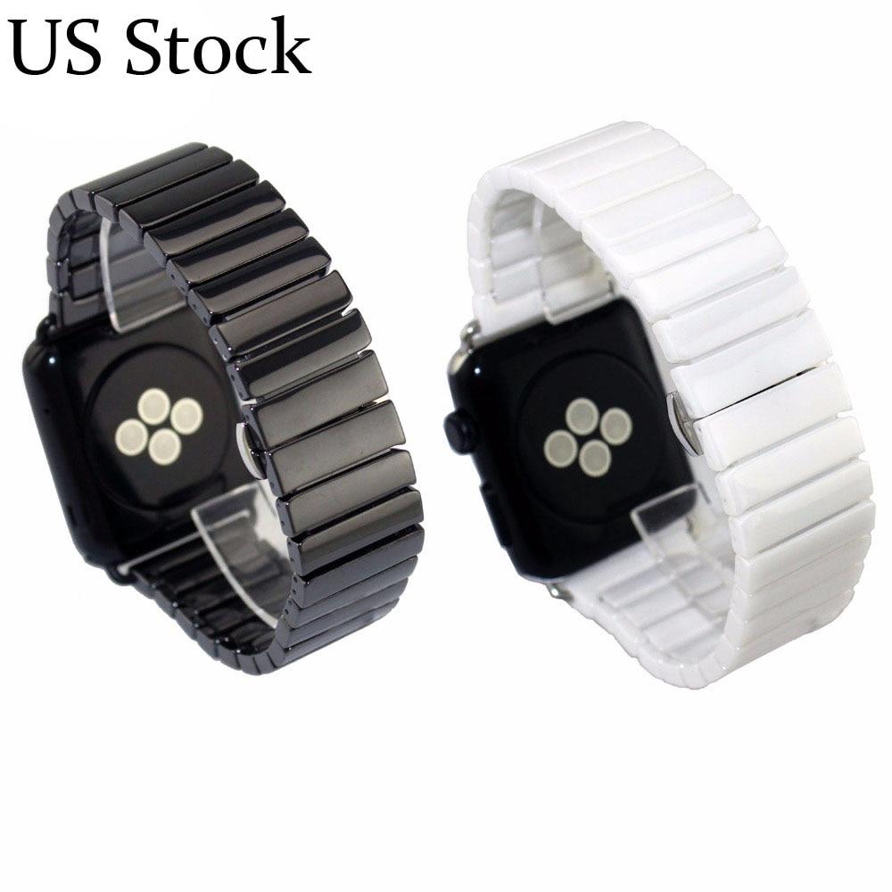 Ceramic Watch Band For Apple Watch 38mm 40mm 42mm 44mm Series 1 2 3 4 Link Bracelet Butterfly Buckle Glossy Smart Watch Belt