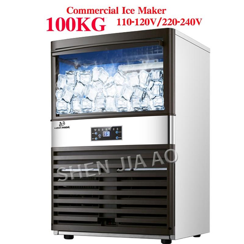 100 Kg Kommerziellen Eismaschine Eismaschine Milch Tee Zimmer/kleine Bar/kaffee Shop Voll Automatische Eis Cube Machine110v/220 V Kühlschränke Und Gefriergeräte