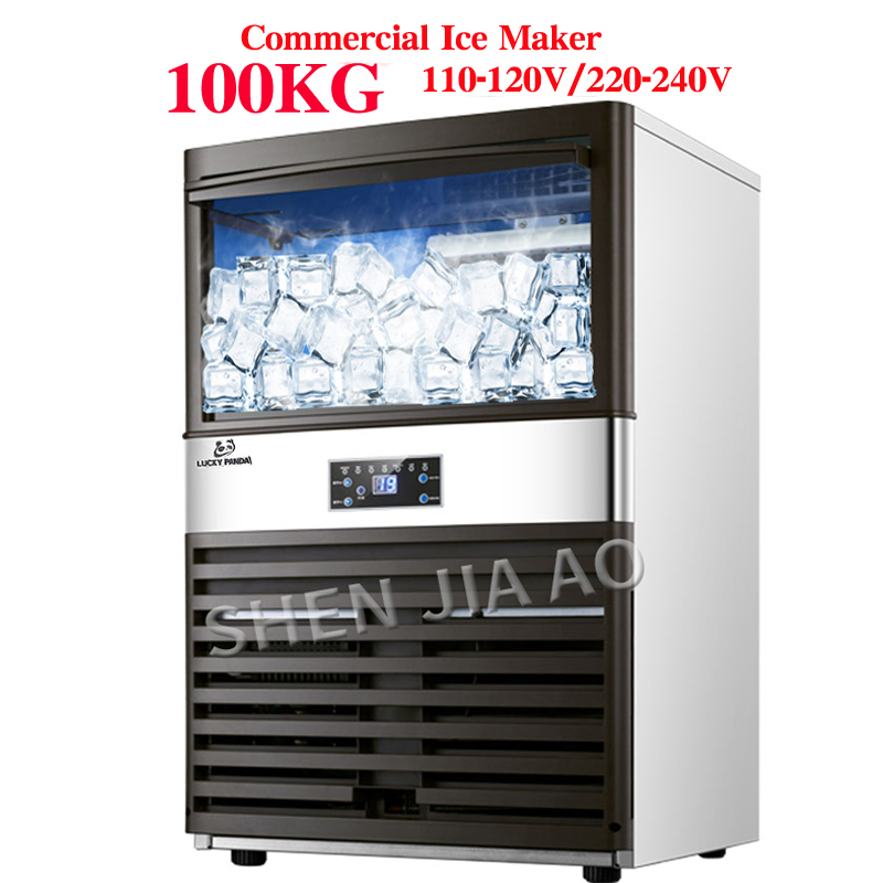 100KG Commercial Ice Machine Ice Making Machine Milk Tea Room/small Bar/Coffee Shop Fully Automatic Ice Cube Machine110v/220v