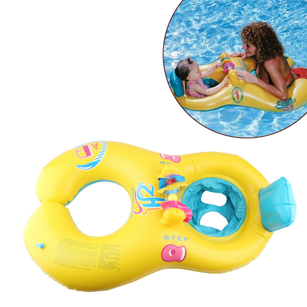 Inflatable Mother Baby Swim Float Ring Kids Seat Double Person Swimming Soft Ring Swimming Circle Babyfloat Accessories piscine