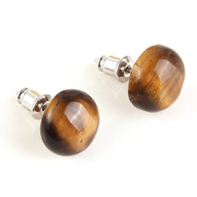 100-Unique Ethnic 1 Pair Silver Plated Natural Tiger Eye Stone Half Ball Earrings Elegant Womens Earring