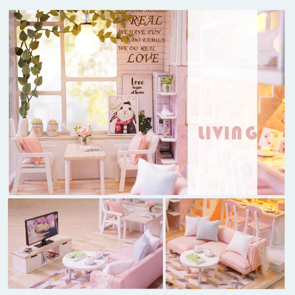Diy Doll House Miniature Dollhouse With Furnitures Wooden Miniaturas Toys For Children New Year Christmas