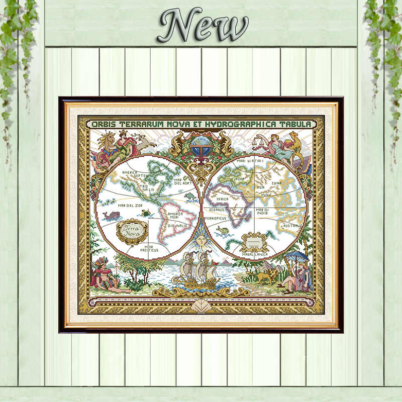Old world map scenery decor painting counted printed on canvas DMC 11CT 14CT kits chinese Cross Stitch embroidery needlework Set