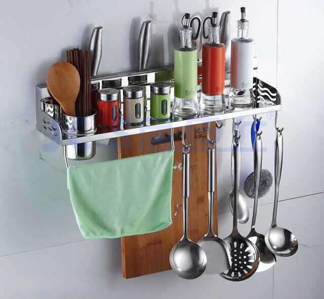 High Quality 304 Stainless Steel Kitchen Rack, Kitchen Shelf, Cooking Utensil Tools Hook  Rack, Kitchen