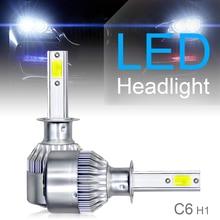 2pcs H1 C6 10800LM 6000K 120W COB LED Mini Auto Car Headlight Kit Hi or Lo Light Bulb for Cars Vehicles