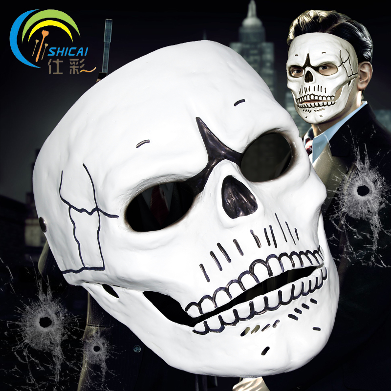 Spectre Mask 007 Movie James Bond for Party Halloween Christmas Costume Cosplay Roleplay Resin Mask Adults Full Face White image