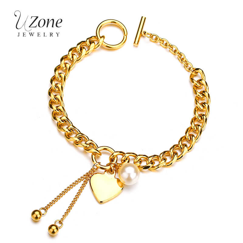 UZone Luxury Simulated Pearl Heart Bracelet 316L Gold Stainless Steel Beads Tassels Charm Bracelet For Women Pulsera Armband